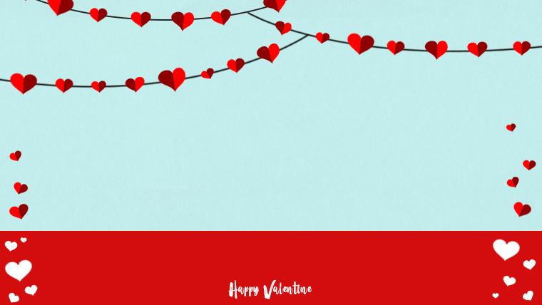 バレンタインの可愛い背景フリー素材02blue