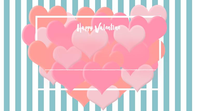 バレンタインの可愛い背景フリー素材04blue
