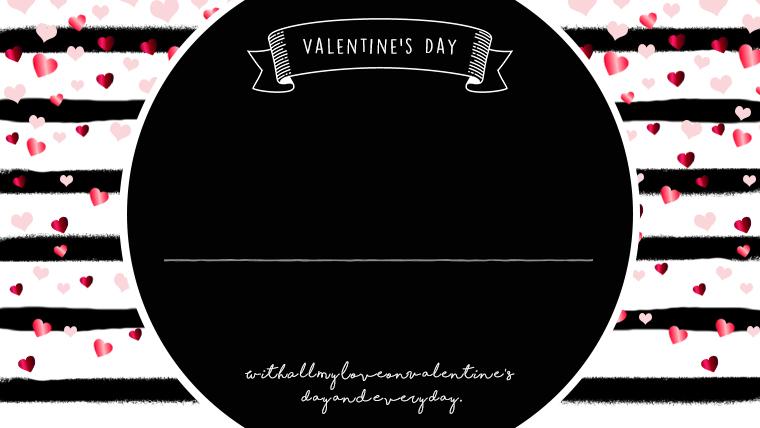 バレンタインの可愛い背景フリー素材06black