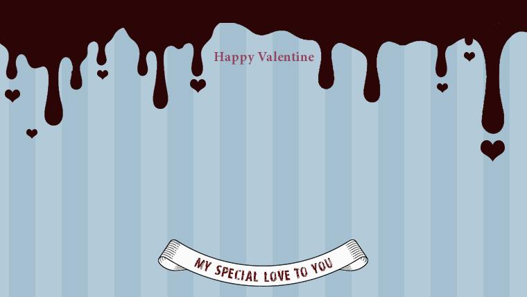 バレンタインの可愛い背景フリー素材09blue