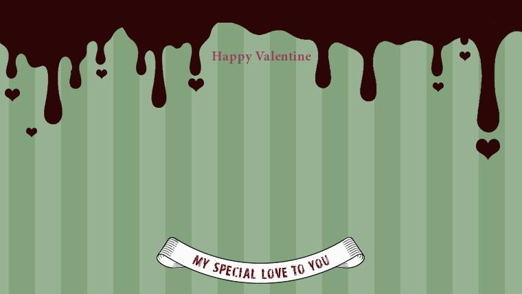 バレンタインの可愛い背景フリー素材09green