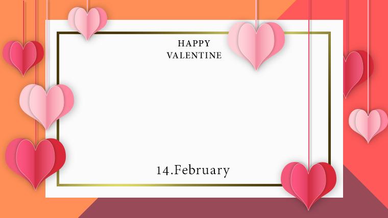 バレンタインの可愛い背景フリー素材10orange